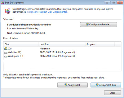 Disk Defragmenter on Windows 7.