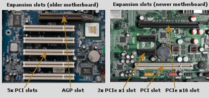 AGP and PCIe x16 expansion slots.