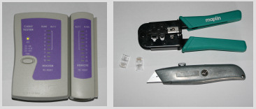 Network Cable Tester, RJ-45 Crimpers & Knife.