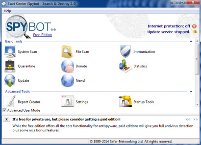 Spybot Search & Destroy software.