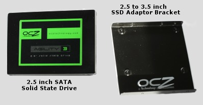 2.5 inch Solid State Drive & Adaptor Bracket.